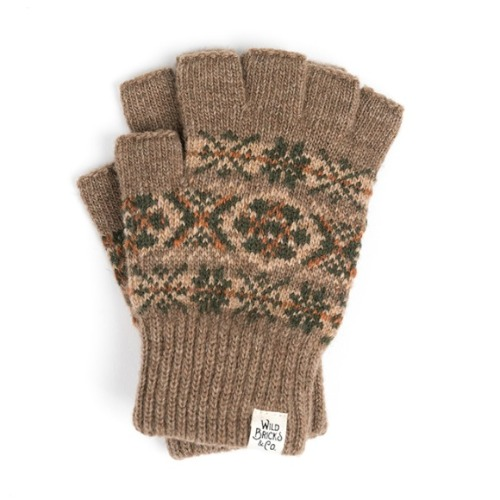 와일드브릭스 WILD BRICKS - LW FAIR ISLE FINGERLESS GLOVES (beige)