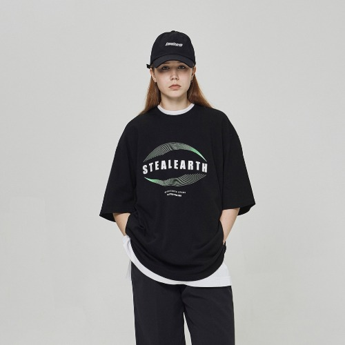 스틸어스 STEALEARTH - planet half t-shirt black
