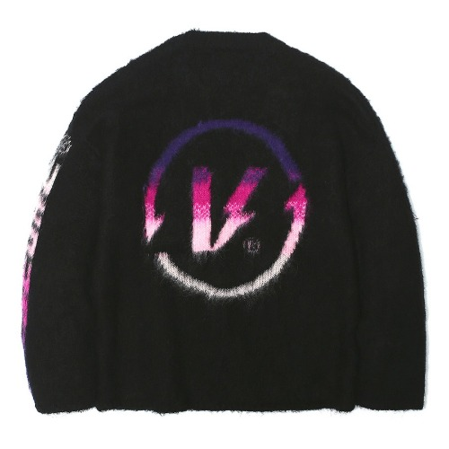 벌스원 VERSEONE - GRADIENT COLOR MOHAIR KNIT SWEATER BLACK