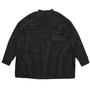 아조바이아조 AJOBYAJO - Stripe Tri Pocket Seersucker Shirt [Black]