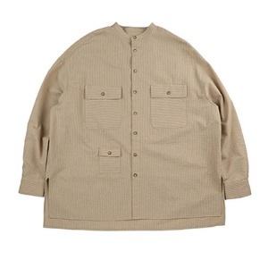 아조바이아조 AJOBYAJO - Stripe Tri Pocket Seersucker Shirt [Camel]