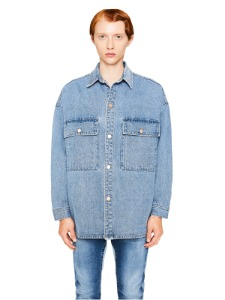 랩101 LAB101 - LJ3DJK93LB STONE WASHING DENIM SHACKET