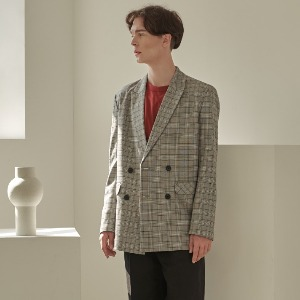우니베르소 UNIVERSO - GLEN CHECK DOUBLE BREASTED JACKET-GRAY