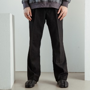 우니베르소 UNIVERSO - WOOL WIDE TROUSERS-BLACK