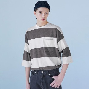 Muninnstation 뮤닌스테이션 - BOLD STRIPE HALF TEE [BROWN]