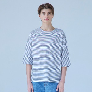 Muninnstation 뮤닌스테이션 - BOATNECK STRIPE HALF TEE [BLUE]