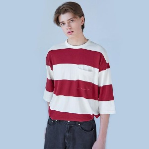 Muninnstation 뮤닌스테이션 - BOLD STRIPE HALF TEE [WINE]
