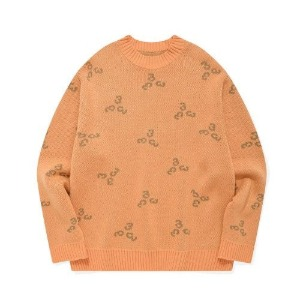 포스333 PHOS333 - 333 Pattern Knit Pullover/Orange