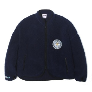 벌스원 VERSEONE - PLUMERIA PATCHED FLEECE JACKET NAVY