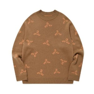 포스333 PHOS333 - 333 Pattern Knit Pullover/Brown