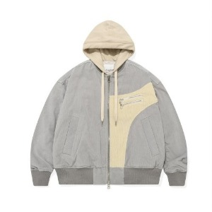 포스333 PHOS333 - V2 Layered Effect Bomber Jacket/Grey (오프라인판매)