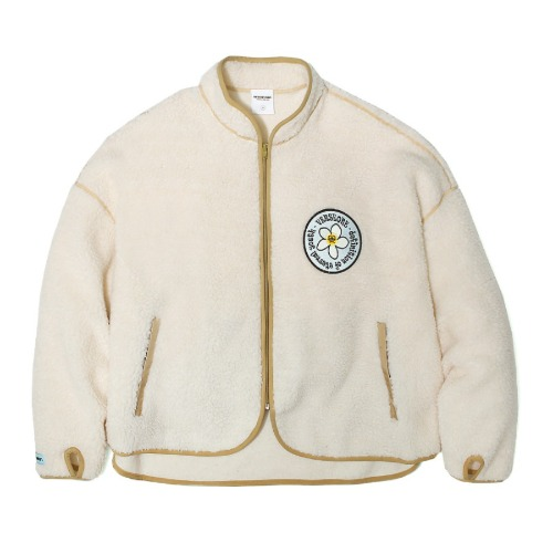 벌스원 VERSEONE - PLUMERIA PATCHED FLEECE JACKET CREAM