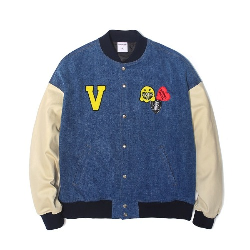 벌스원 VERSEONE -  LOGO PATCHED BASEBALL JACKET DENIM