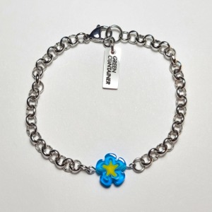 그린컨테이너 - FLOWER STONE CHAIN BRACELET (BLUE)