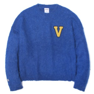 벌스원 VERSEONE - LOGO PATCHED MOHAIR CROPPED KNIT SWEATER ROYAL BLUE