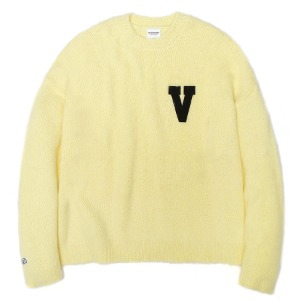 벌스원 VERSEONE - LOGO PATCHED MOHAIR CROPPED KNIT SWEATER LIME